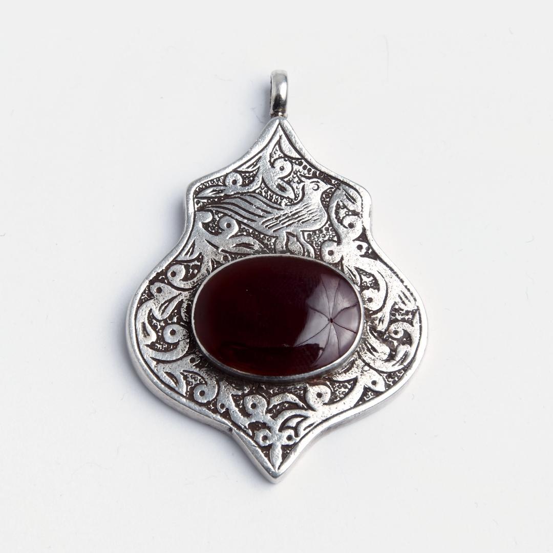 Pandantiv afgan Teke, argint și cornalină