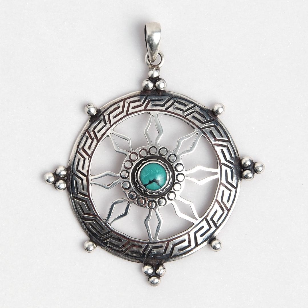 Pandantiv amuletă Chakra, argint și turcoaz tibetan, Nepal