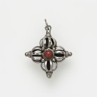 Pandantiv amuletă dorje dublu, argint, turcoaz și coral, Nepal