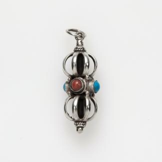 Pandantiv amuletă dorje mediu, argint, turcoaz și coral, Nepal