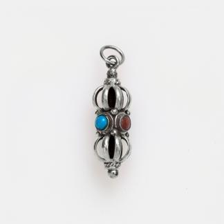 Pandantiv amuletă dorje mic, argint, turcoaz și coral, Nepal