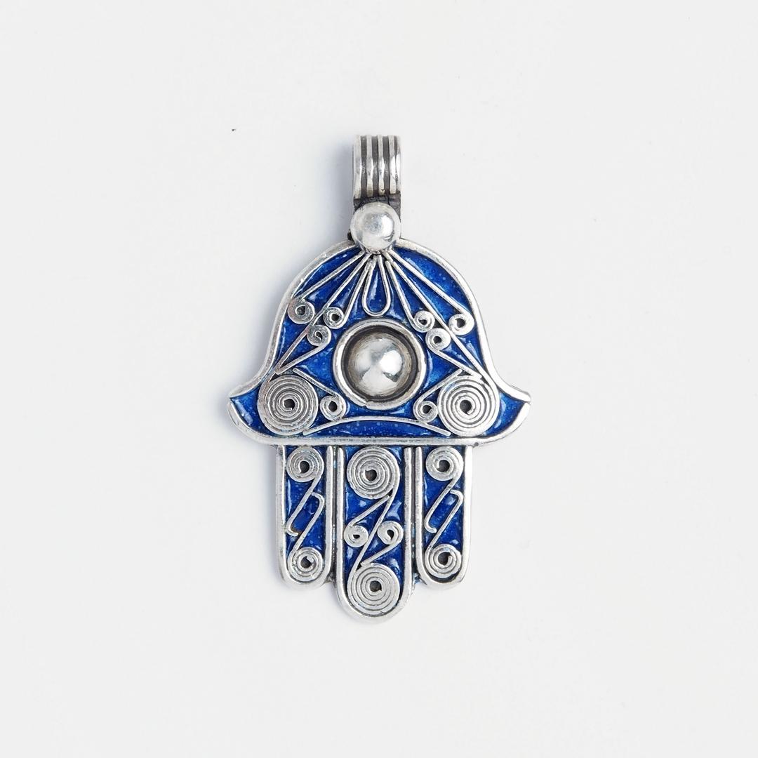 Pandantiv amuletă hamsa, argint și email albastru, Maroc