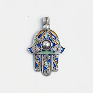 Pandantiv amuletă hamsa, argint și email, Maroc