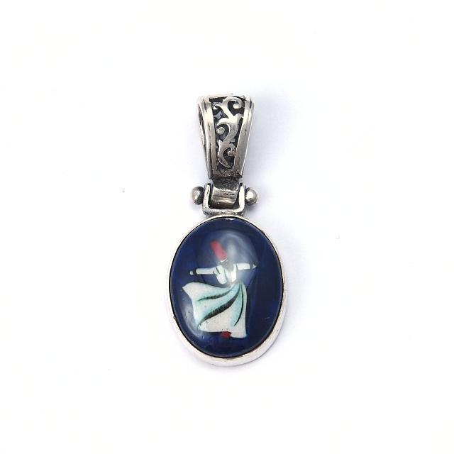 Pandantiv argint și ceramică de Iznik, derviș, oval, Turcia