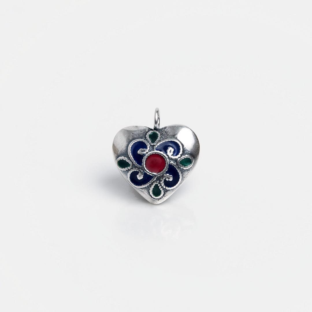 Pandantiv argint inimioară, email albastru, roșu și verde, Thailanda