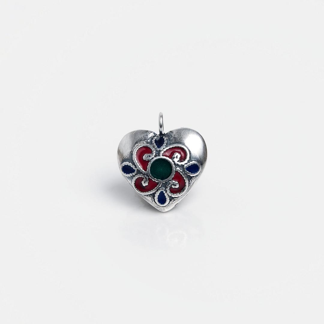Pandantiv argint inimioară, email roșu, verde și albastru, Thailanda