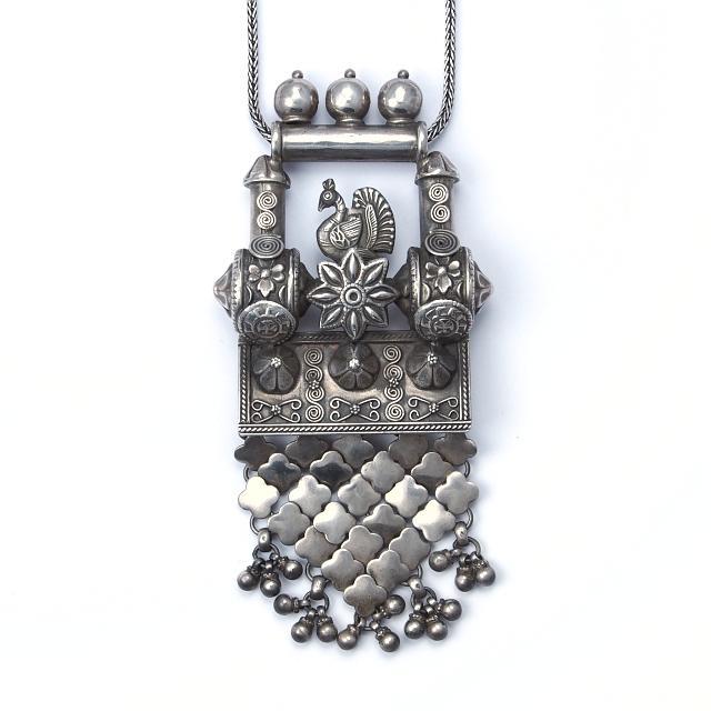 Pandantiv argint Mayura, India, sec. XX