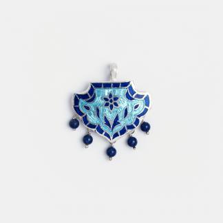 Pandantiv din argint Padma cu email albastru și bleu, India