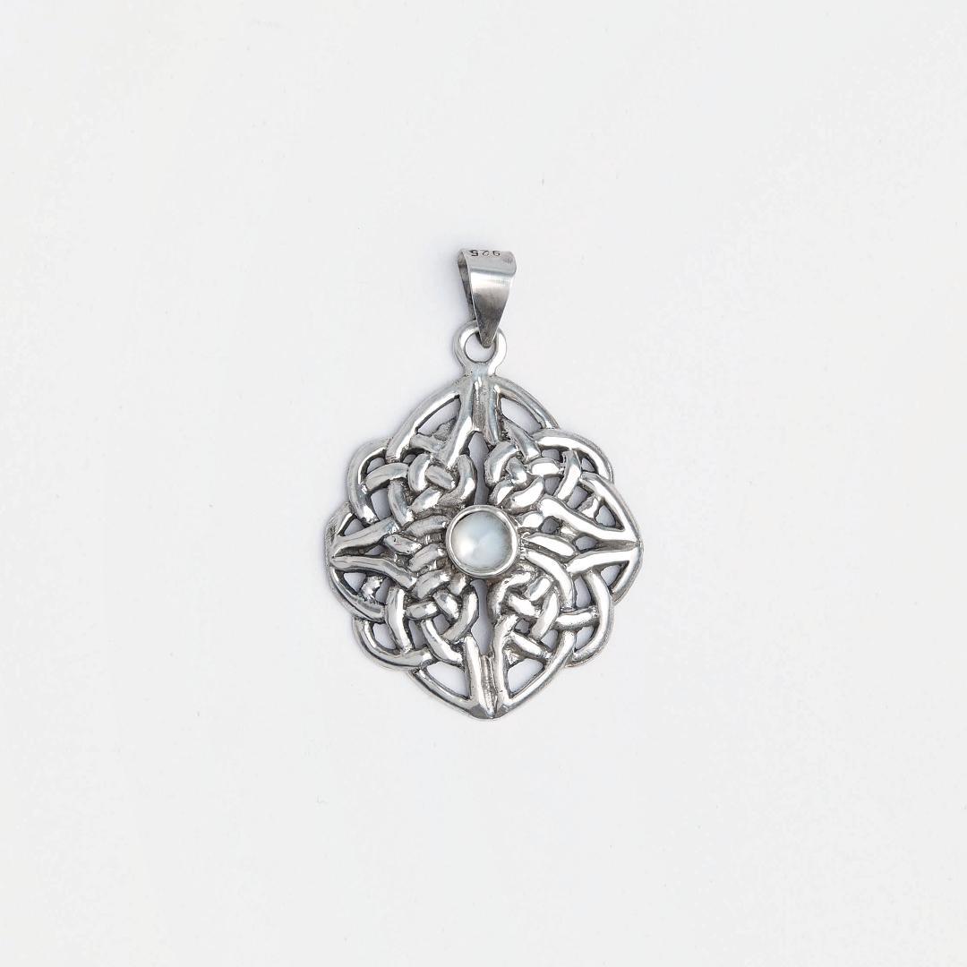 Pandantiv argint și sidef simbol celtic Dara