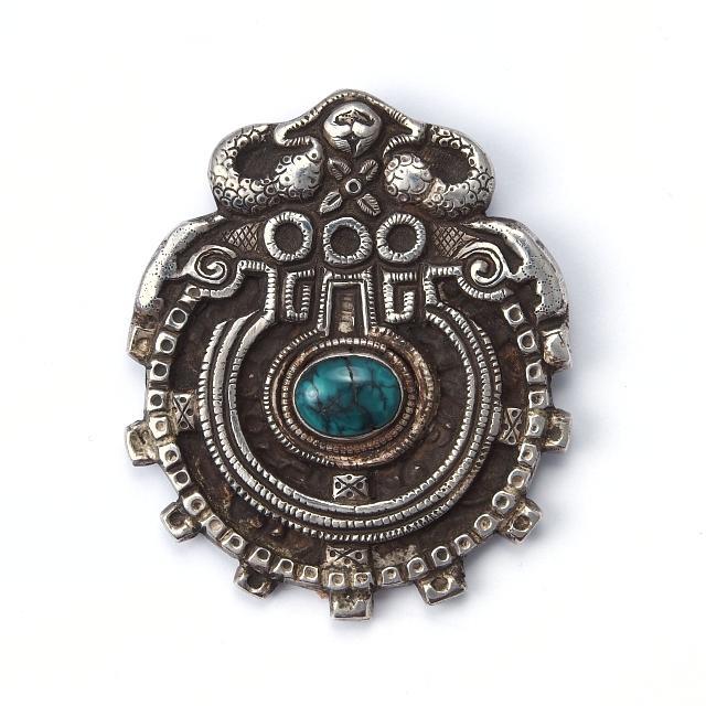 Pandantiv argint și turcoaz tibetan, Makara, Nepal