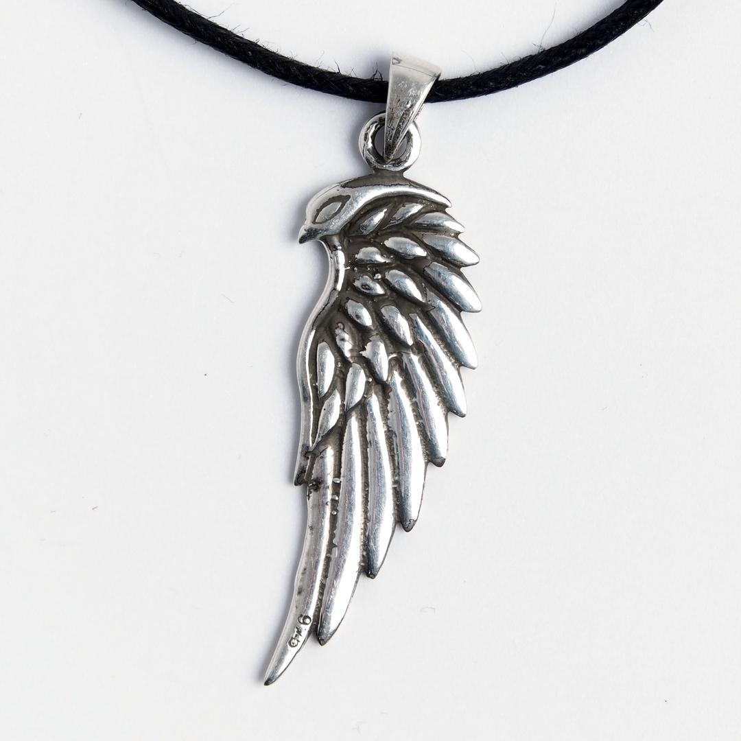 Pandantiv Aripă Vultur Odin, argint, șnur negru