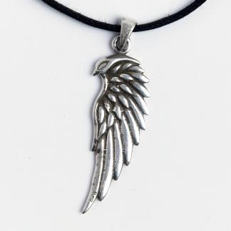 Pandantiv aripă de vultur Odin, argint, șnur negru