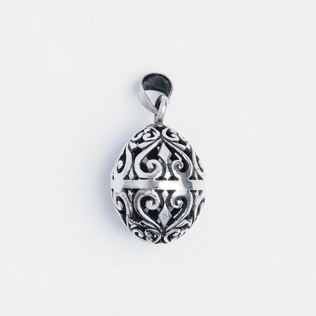 Pandantiv biluță mică perforată, argint, Indonezia