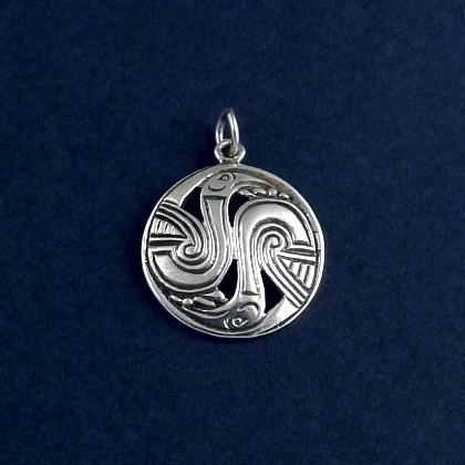 Pandantiv celtic rotund păsări, argint