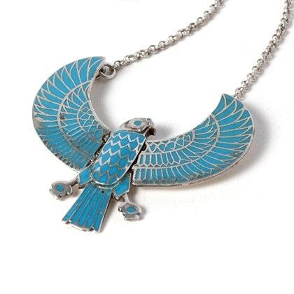 Pandantiv-colier egiptean Horus, turcoaz, argint și email