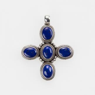 Pandantiv cruce, argint și lapis lazuli, Nepal