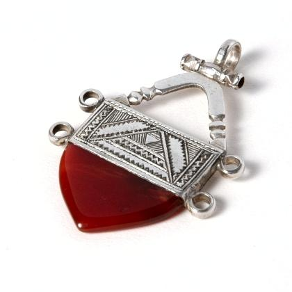 Pandantiv cruce tuaregă, argint și cornalină