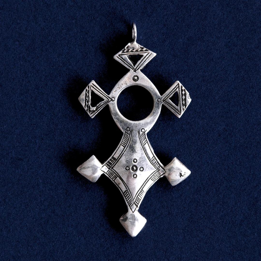 Pandantiv cruce tuaregă In-Abagret, argint