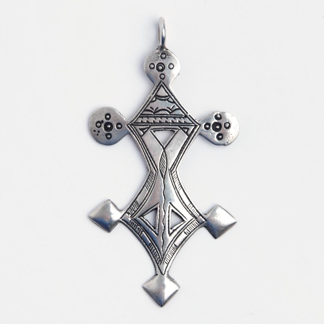 Pandantiv cruce tuaregă Tchimoumene, argint