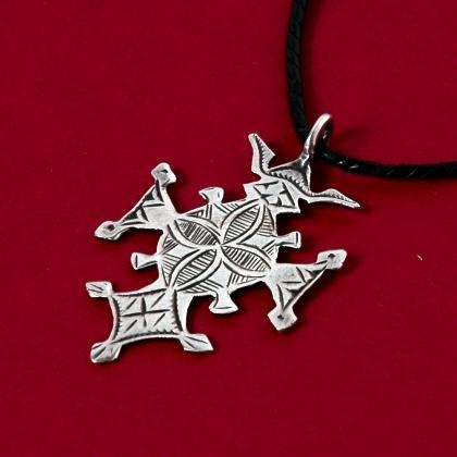 Pandantiv cruce tuaregă Tchin-Tabaraden mică, argint
