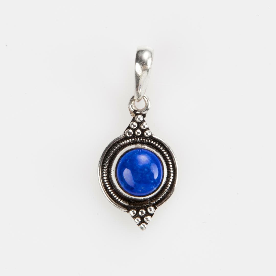 Pandantiv Dharma rotund, argint și lapis lazuli, Nepal