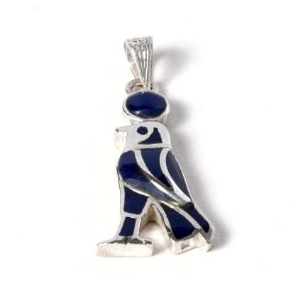 Pandantiv egiptean Horus albastru, argint și email