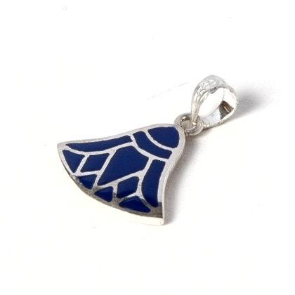 Pandantiv egiptean lotus albastru mic, argint și email