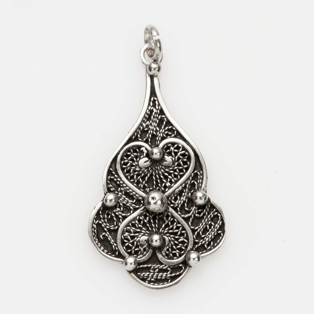 Pandantiv floare, filigran, argint, Maroc