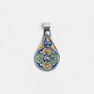 Pandantiv floare Meknes, argint și email albastru, verde și galben, Maroc