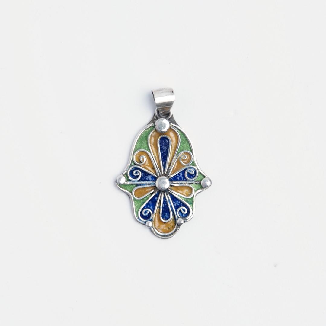 Pandantiv hamsa Fatima, argint și email albastru, verde și galben, Maroc