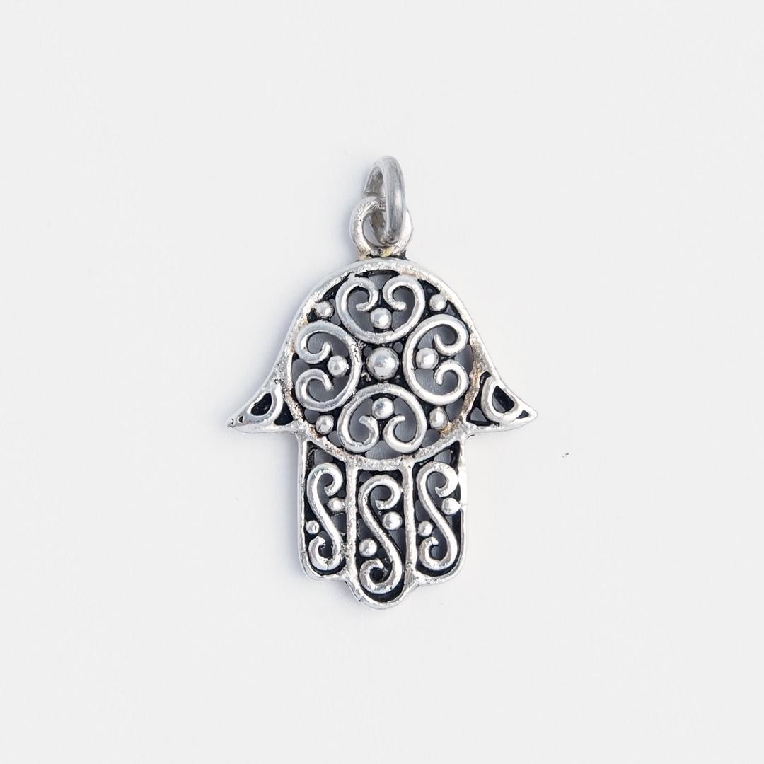 Pandantiv hamsa filigran, argint, Maroc