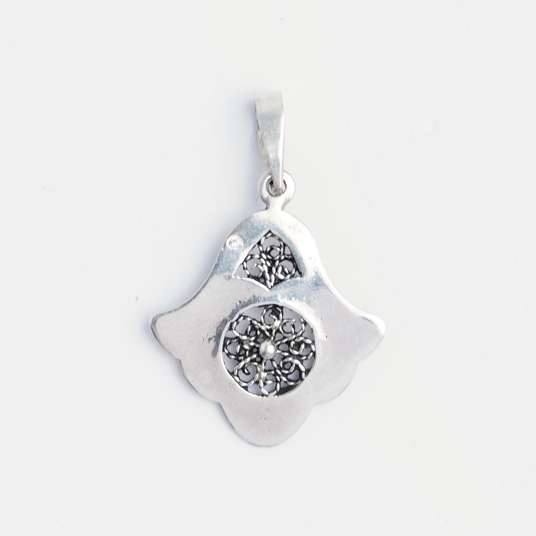 Pandantiv hamsa Rabat, argint și filigran, Maroc