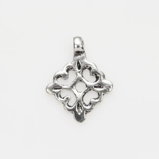 Pandantiv hamsa stilizată, pătrat, argint, Maroc