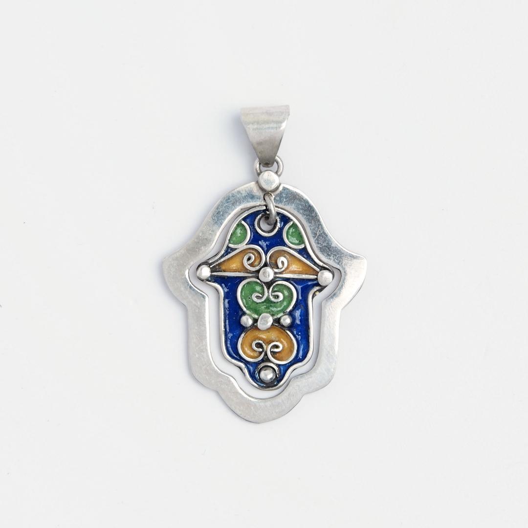 Amuletă hamsa Tanger, argint și email, Maroc