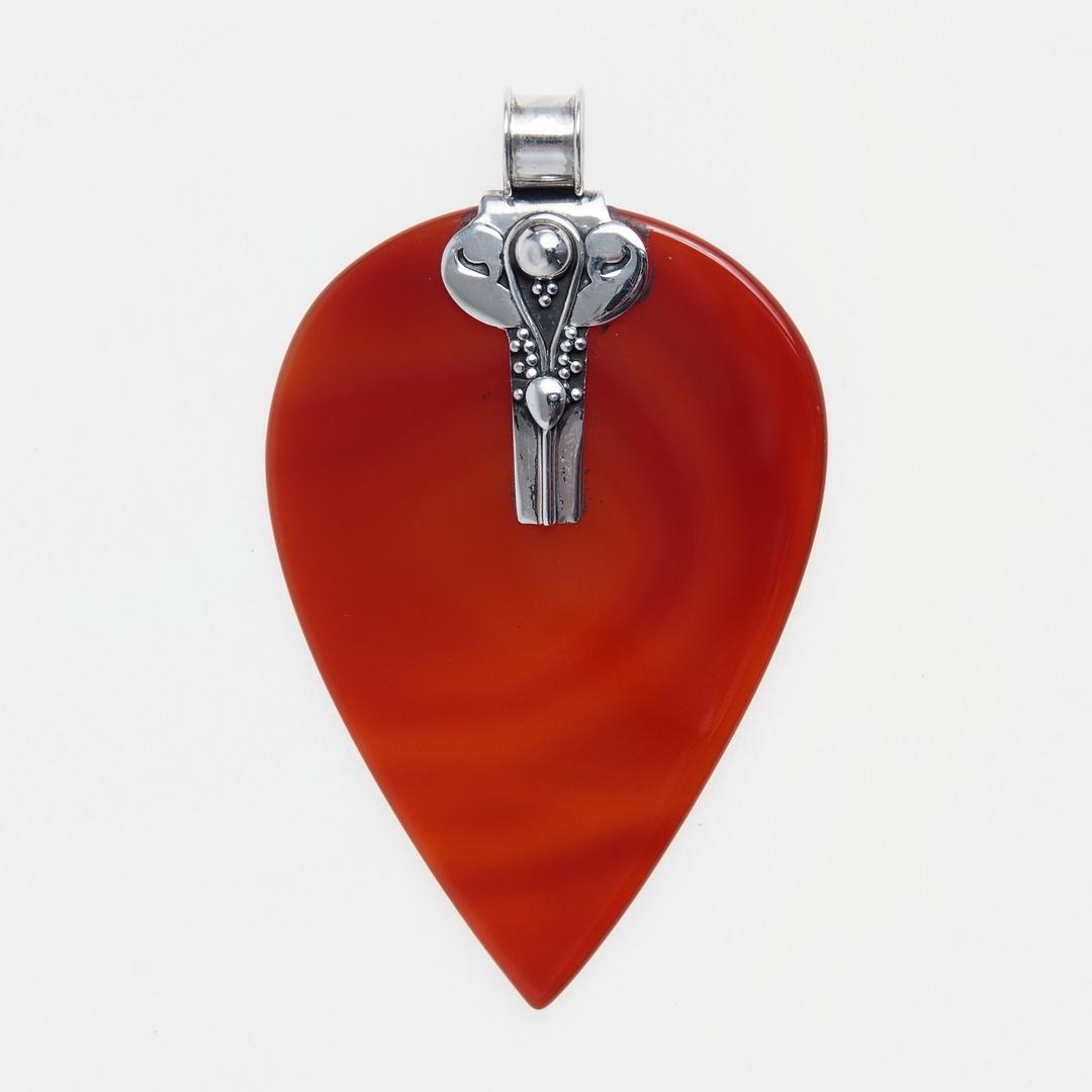 Pandantiv inimă Amore, argint și onix roșu, India
