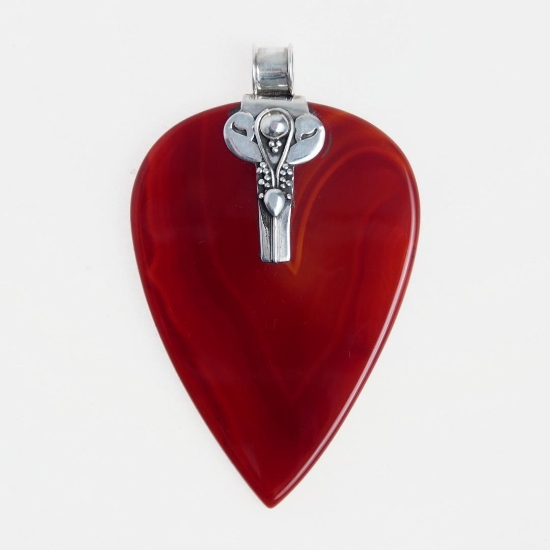 Pandantiv inimă Amour, argint și onix roșu, India