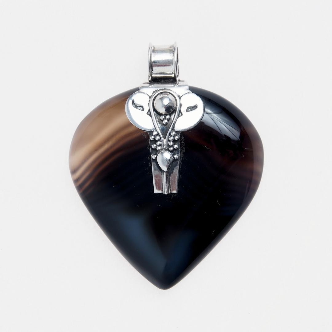 Pandantiv inimă Pyaar, agată și argint, India