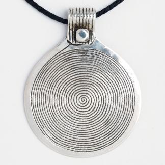 Pandantiv mare spirală Djenne, argint, șnur de piele, Niger