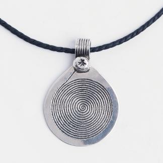 Pandantiv mic spirală Djenne, argint, șnur de piele, Niger