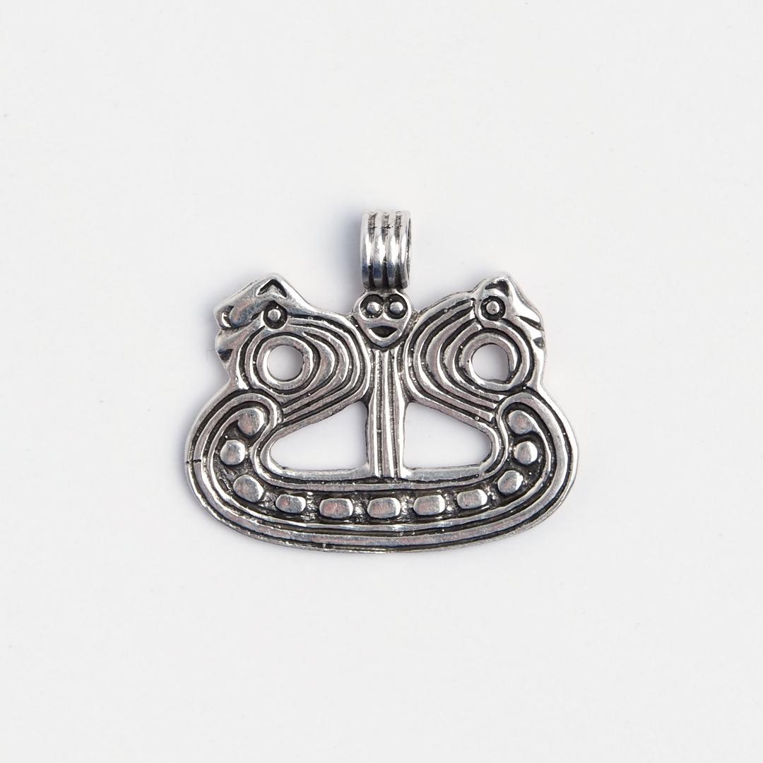 Pandantiv navă viking stilizată, argint