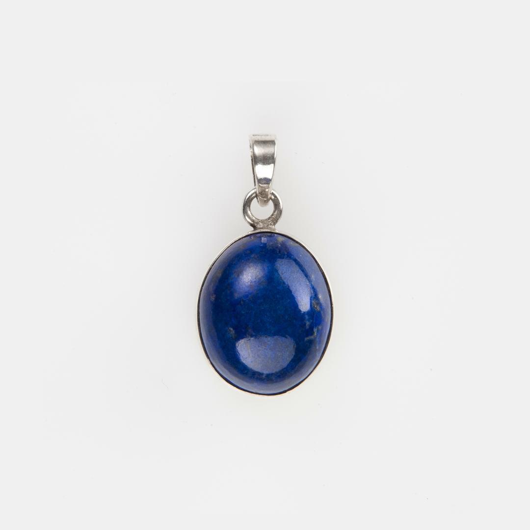 Pandantiv oval II, argint și lapis lazuli, India