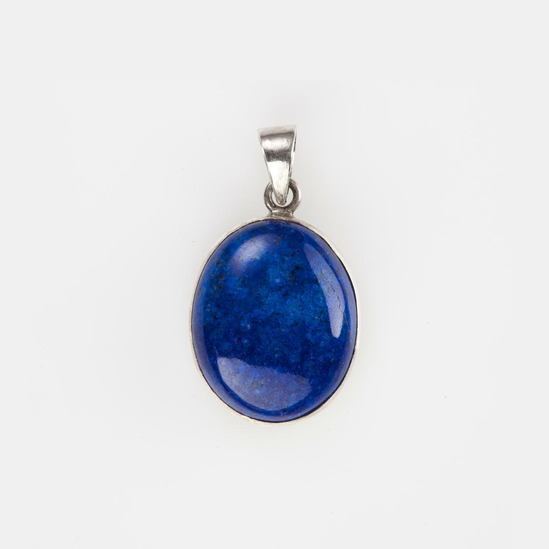 Pandantiv oval IV, argint și lapis lazuli, India
