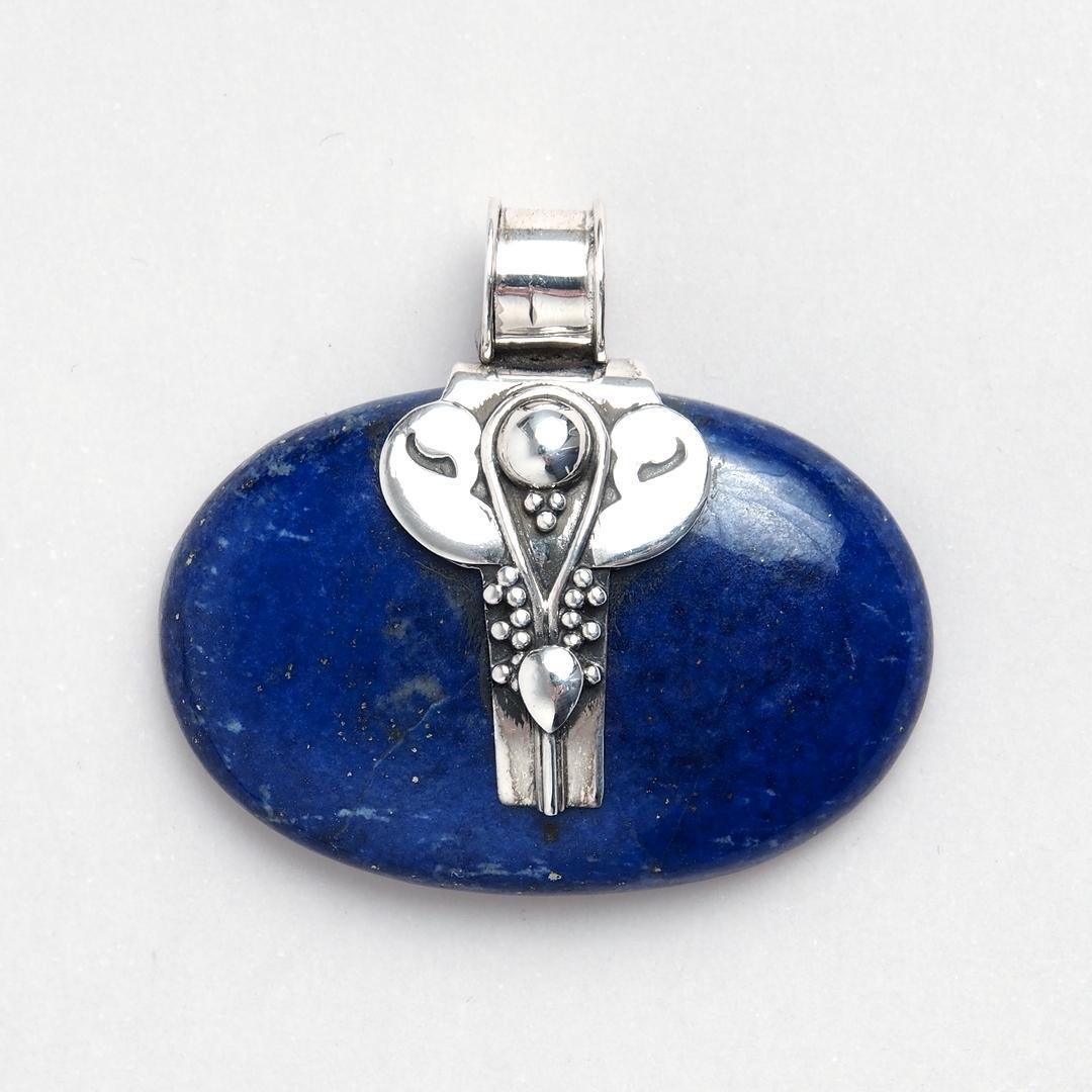 Pandantiv oval Jaap, argint și lapis lazuli, India