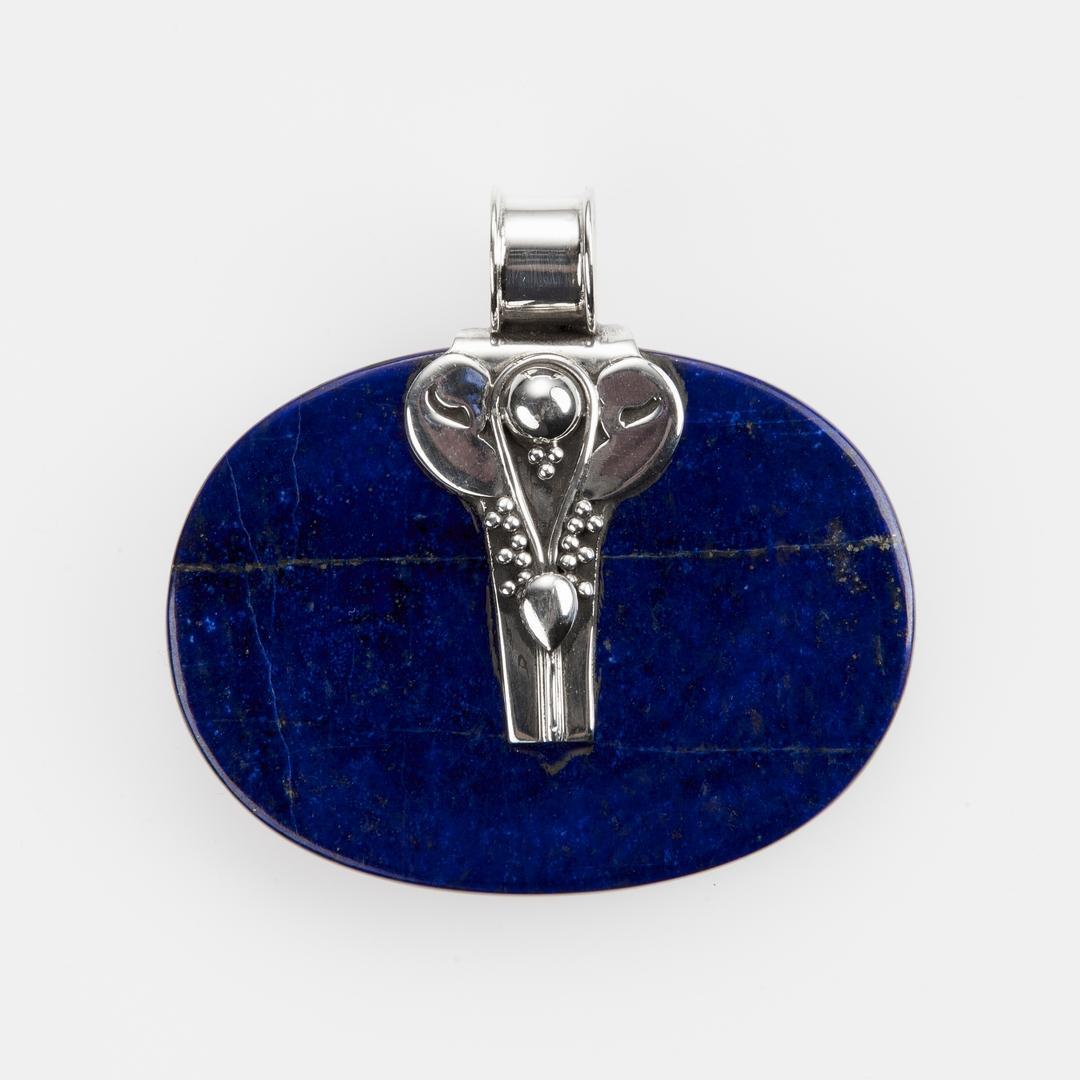 Pandantiv oval orizontal II, lapis lazuli, argint, India