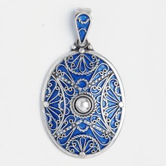Pandantiv oval Zagora, argint și email albastru, Maroc