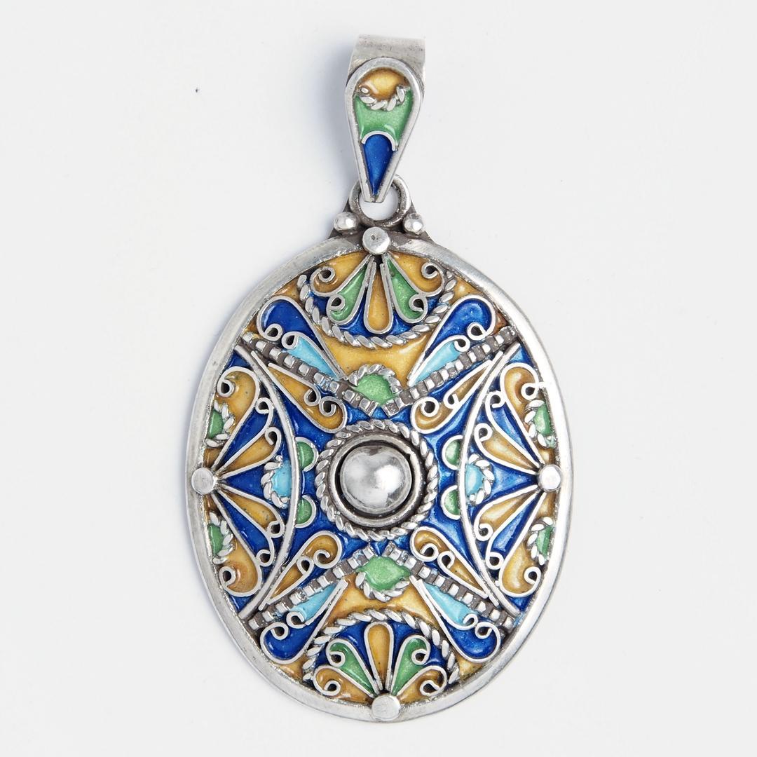 Pandantiv oval Zagora, argint și email, Maroc