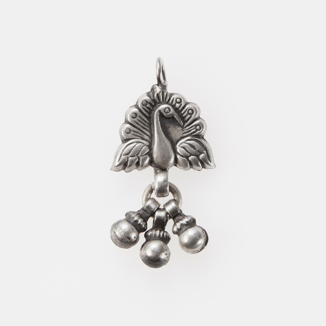 Pandantiv păun trei biluțe, argint, India