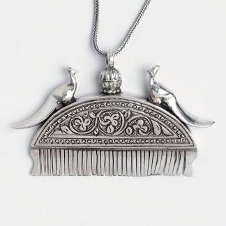 Pandantiv recipient ulei de păr, lanț lung, argint, India