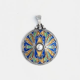 Pandantiv rotund El Borj, argint și email, Maroc