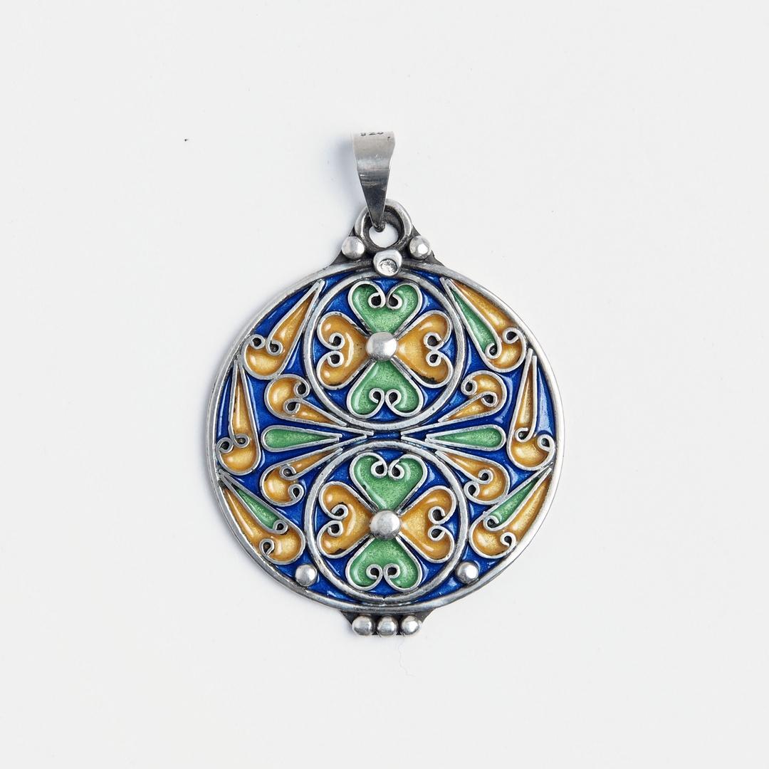Pandantiv rotund El Kasba, argint și email, Maroc